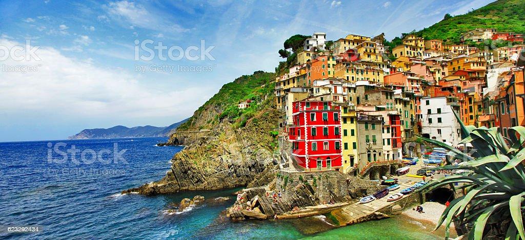 scenic Liguria - Riomaggiore panorama. Italy stock photo