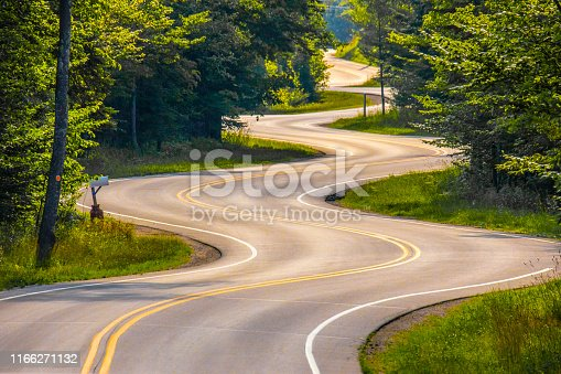 Scenic, long, winding road, Highway 42 at its northernmost end in Door County Wisconsin.wiscon