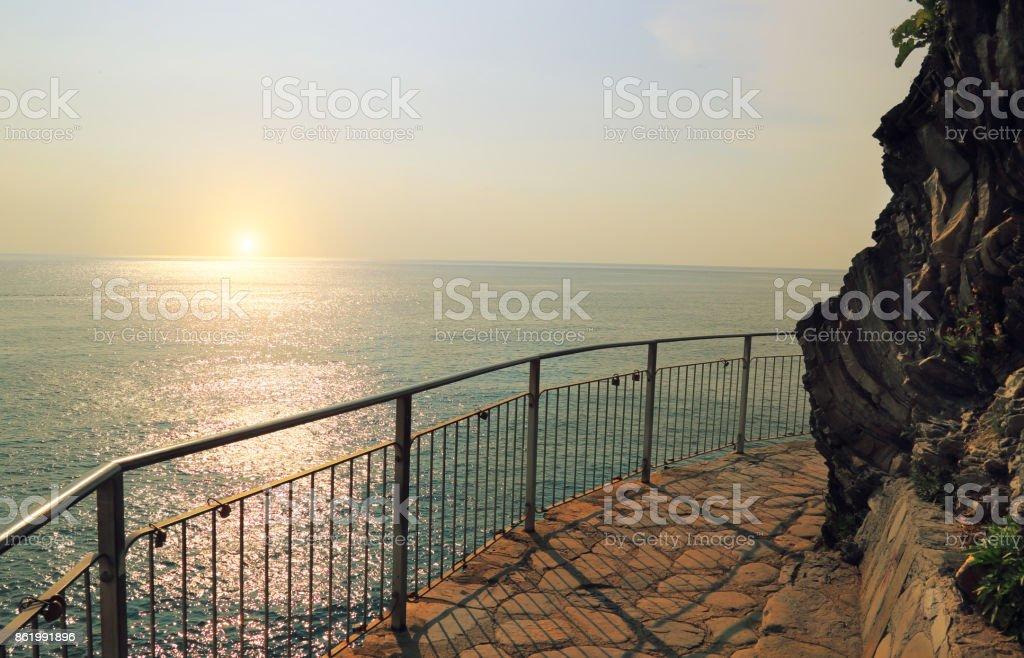 Scenic Manarola sunsets stock photo