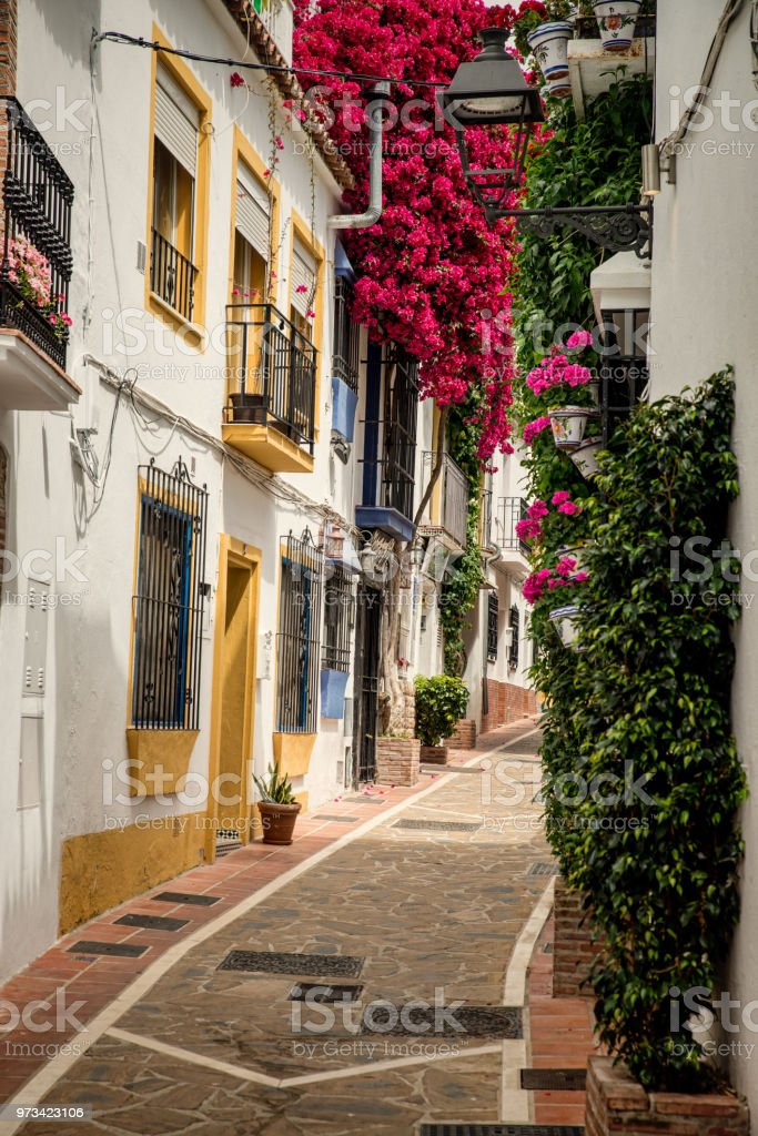 Scenic Marbella streets stock photo