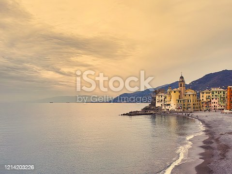 istock Scenic Mediterranean riviera coast. Panoramic view of Camogli town in Liguria 1214203226