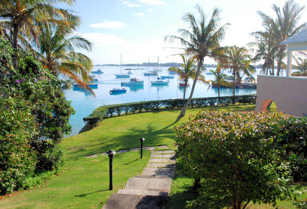 A scenic moment in Bermuda. A purely scenic shot taken on the beautiful island of Bermuda. sailing dinghy stock pictures, royalty-free photos & images