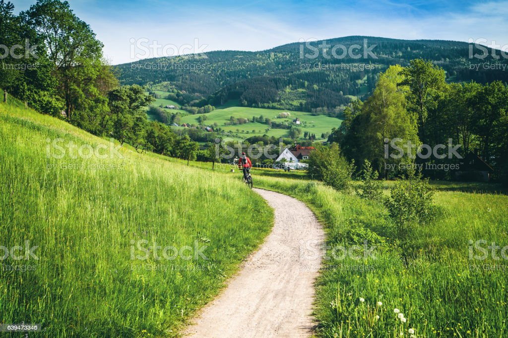 Scenic mountain landscape. Summer sports concept. stock photo