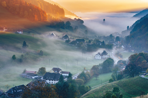 Scenic mountain landscape. View on a picturesque village in Germany, Black Forest