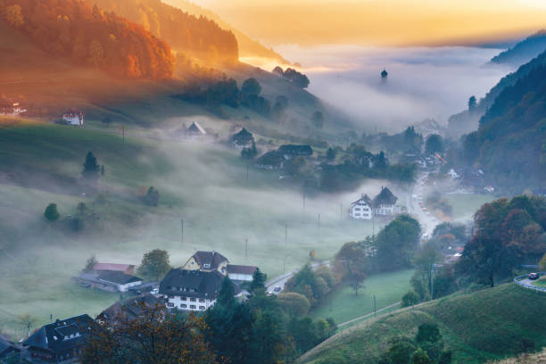 Scenic mountain landscape. View on a picturesque village in Germany, Black Forest stock photo