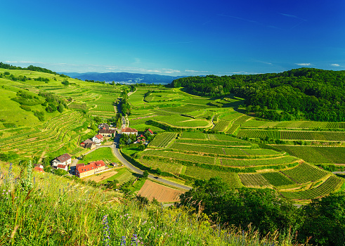 Scenic mountain landscape with a historic village in Germany,