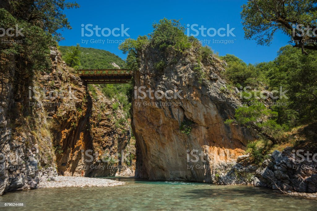 Scenic mountain  landscape with Krikiliotis river, Evritania, Greece royalty-free stock photo
