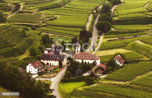 istock Scenic mountain landscape with vineyards and old village in Germany 639823762