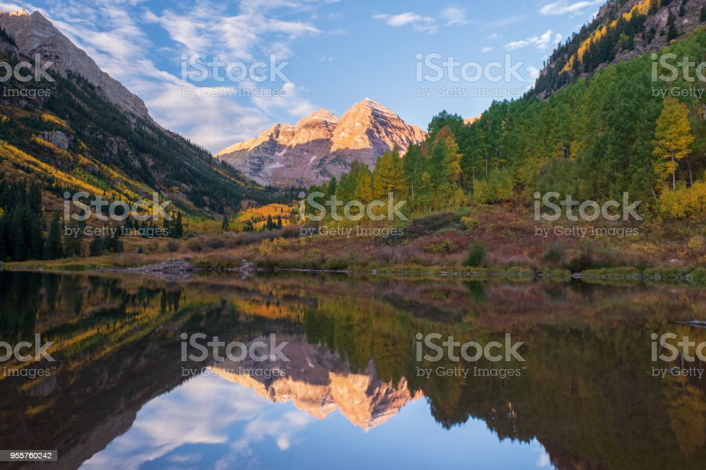 Scenic mountain peaks and lake at Maroon Bells Scenic Area of Maroon...