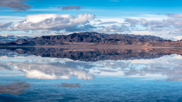 Scenic Mountain Reflection on Bonneville Salt Flats stock photo