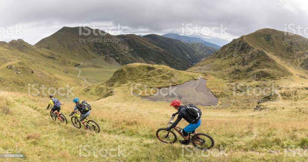 Scenic mountainbike downhill in the Friulian Mountains, Italy. stock photo