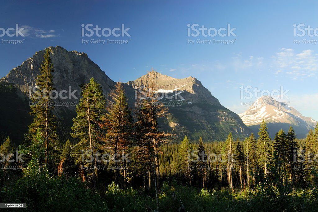 Scenic Mountains in Glacier National Park of USA royalty-free stock photo