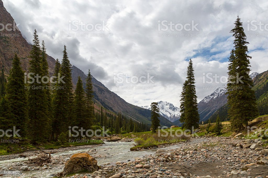 Scenic mountains in the Barskaun Gorge in Kyrgyzstan. stock photo