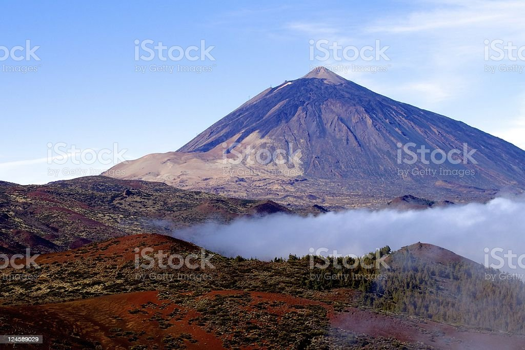 Scenic Mt Teide, Tenerife with ground level cloud stock photo