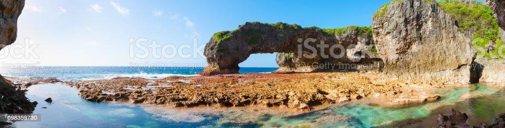 Scenic natural arch, Talava Arch, Niue stock photo