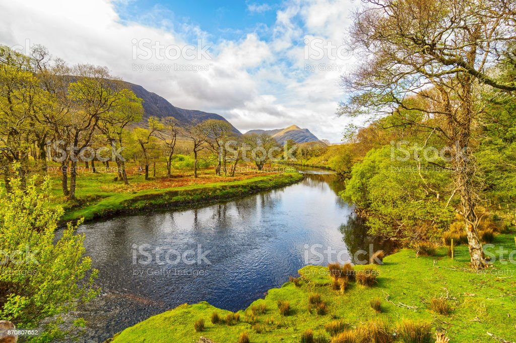 scenic nature connemara landscape from the west of ireland. epic irish rural countryside from county galway along the wild atlantic way stock photo