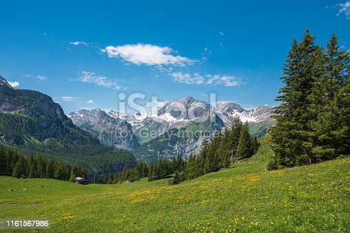 Landscape between Oeschinen mountain station and Oeschinensee lake with the summit of the Great Lohner close to Kandersteg in the Bernese Oberland of Switzerland