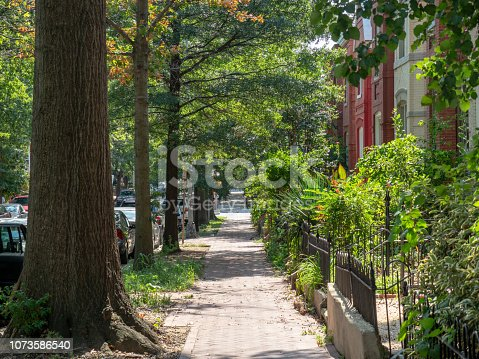 istock Scenic neighborhood sidewalk with townhouses at H street in Washington, DC 1073586540