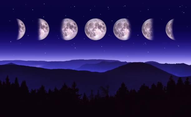 paesaggio notturno panoramico delle diverse fasi della luna su una catena montuosa e una foresta. - luna gibbosa foto e immagini stock