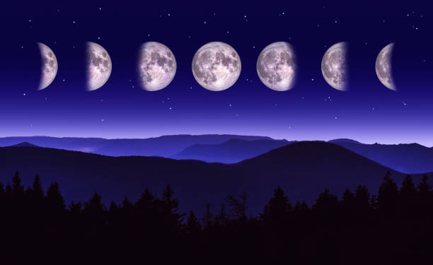Scenic Night landscape of the different phases of the moon over a mountain range and forest. stock photo