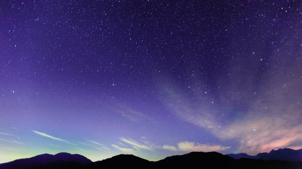 Scenic night sky and stars in Taiwan stock photo