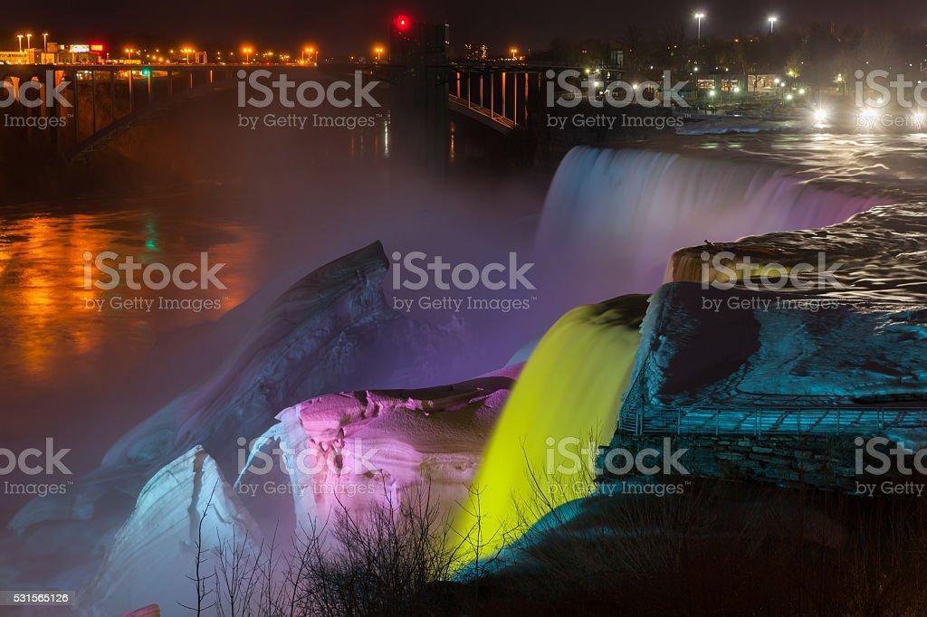 scenic night view Niagara Falls in New York usa stock photo