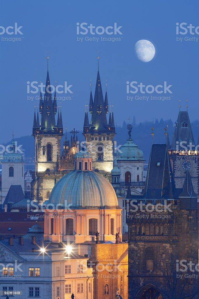 A scenic night view of Czech Republic, Prague royalty-free stock photo