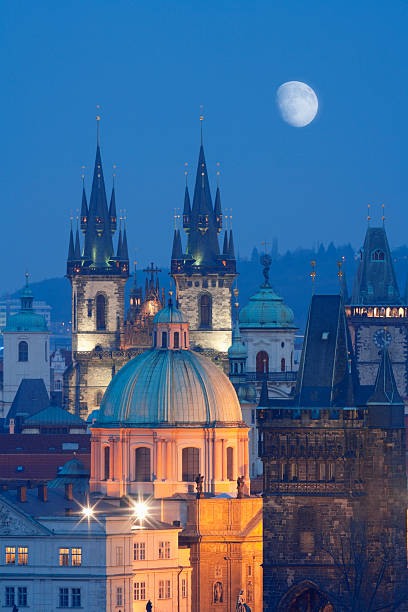 A scenic night view of Czech Republic, Prague czech republic, prague - spires of the old town and tyn church tyn church stock pictures, royalty-free photos & images