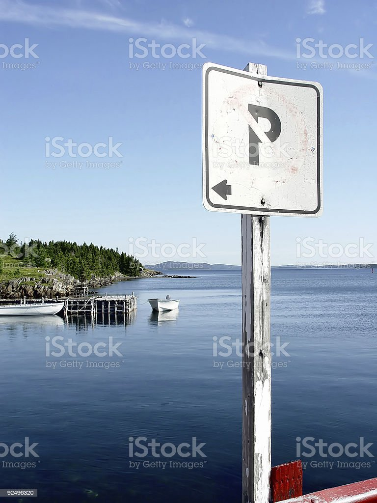Scenic No Parking Sign royalty-free stock photo