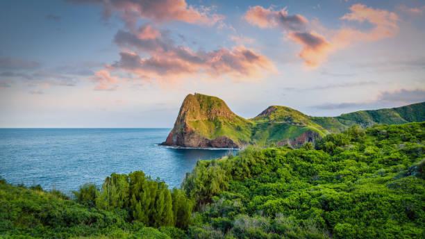 Scenic North West Coast Panorama Maui Island Hawaii USA stock photo