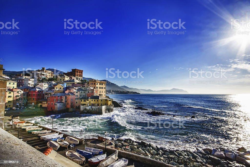 Scenic ocean landscape Genova Boccadasse, Italy stock photo