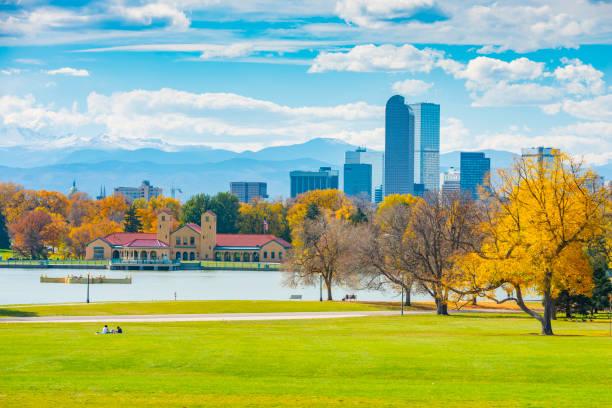 Scenic of Denver Colorado skyline stock photo