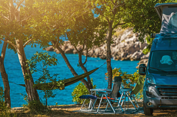 Scenic Outdoor Camping Spot and Motorhome stock photo