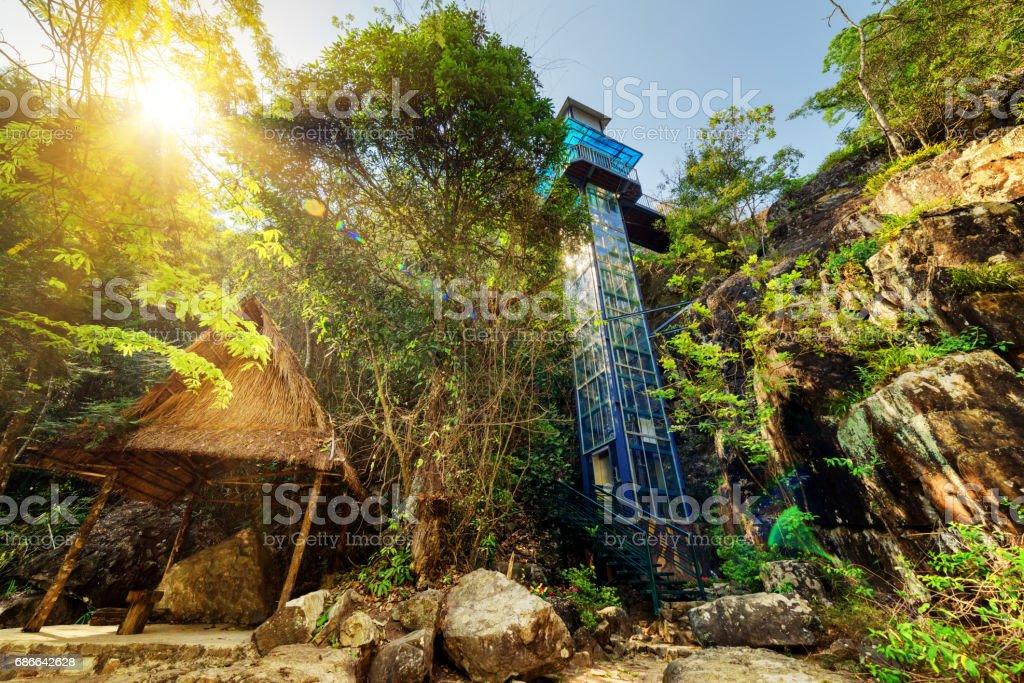 Scenic outdoor elevator in forest. Datanla waterfall park, Da Lat, Vietnam royalty-free stock photo
