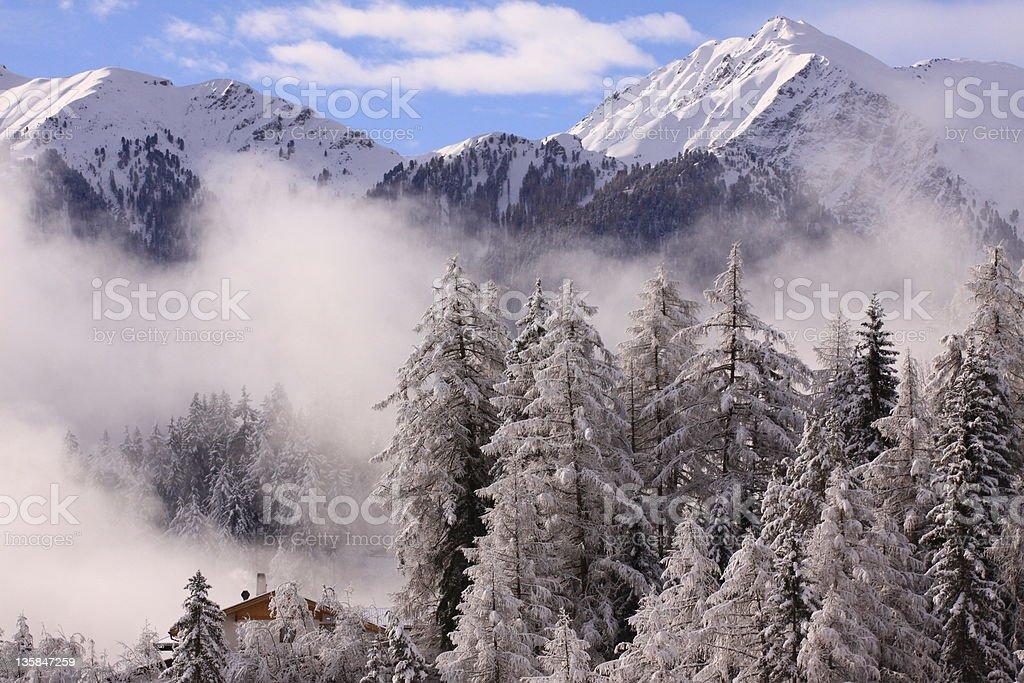 scenic panorama in snowy mountain ridge royalty-free stock photo