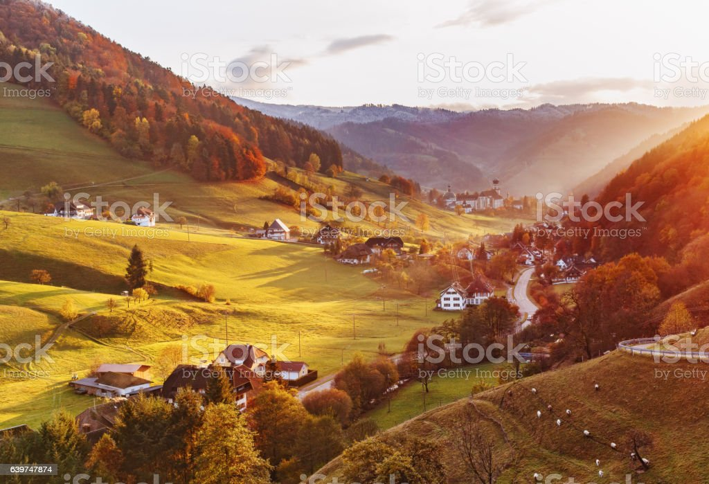 Scenic panoramic view of a picturesque mountain valley in autumn stock photo
