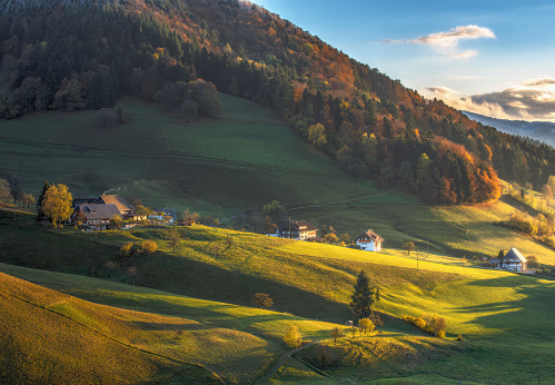 Scenic panoramic view of a picturesque mountain valley in autumn