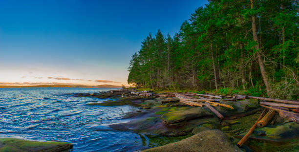Scenic panoramic view of the ocean and Jack Point and Biggs Park in Nanaimo, British Columbia. stock photo