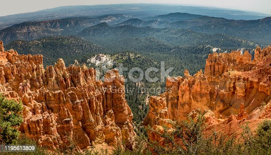 Scenic panoramic view on red hoodoos and trees. Bryce Canyon, Utah