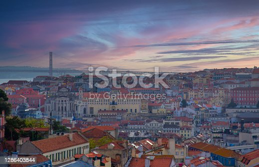 Scenic panoramic views of Lisbon from Saint George Castle (Sao Jorge) lookout