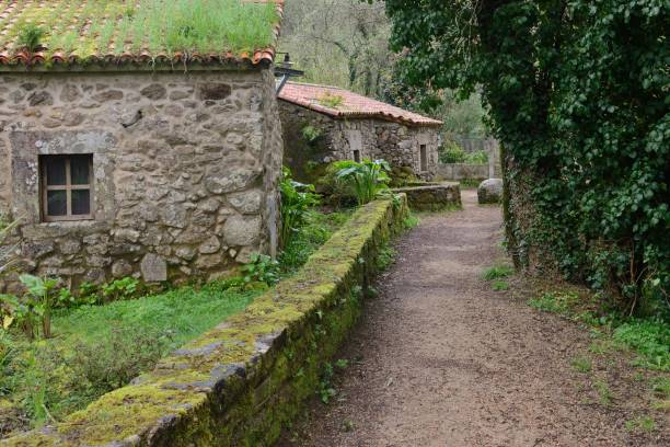 scenic path near the stone houses in the village image of scenic path near the stone houses in the village stone house stock pictures, royalty-free photos & images