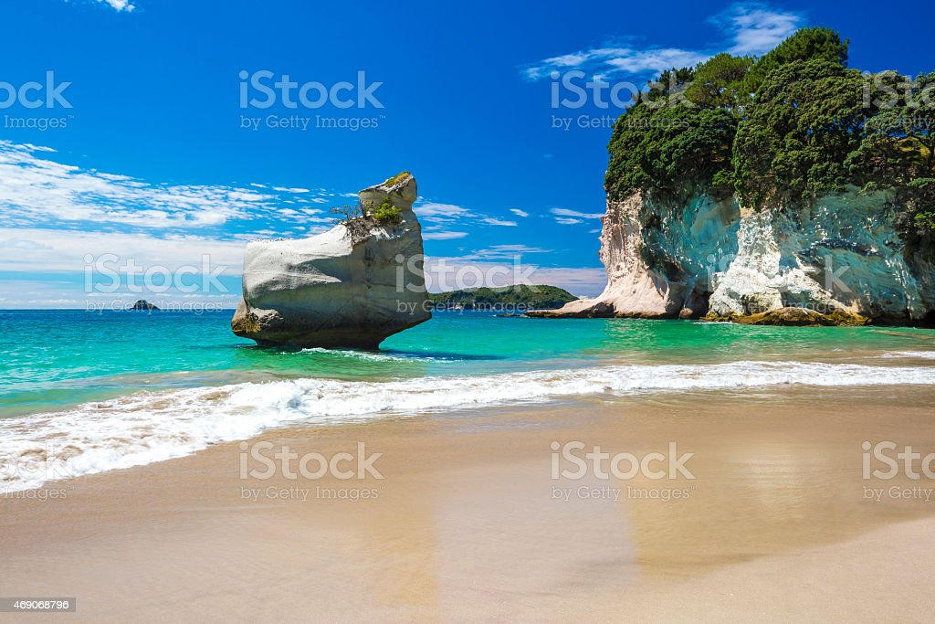 Scenic photo of beach and blue ocean at Cathedral Cove stock photo
