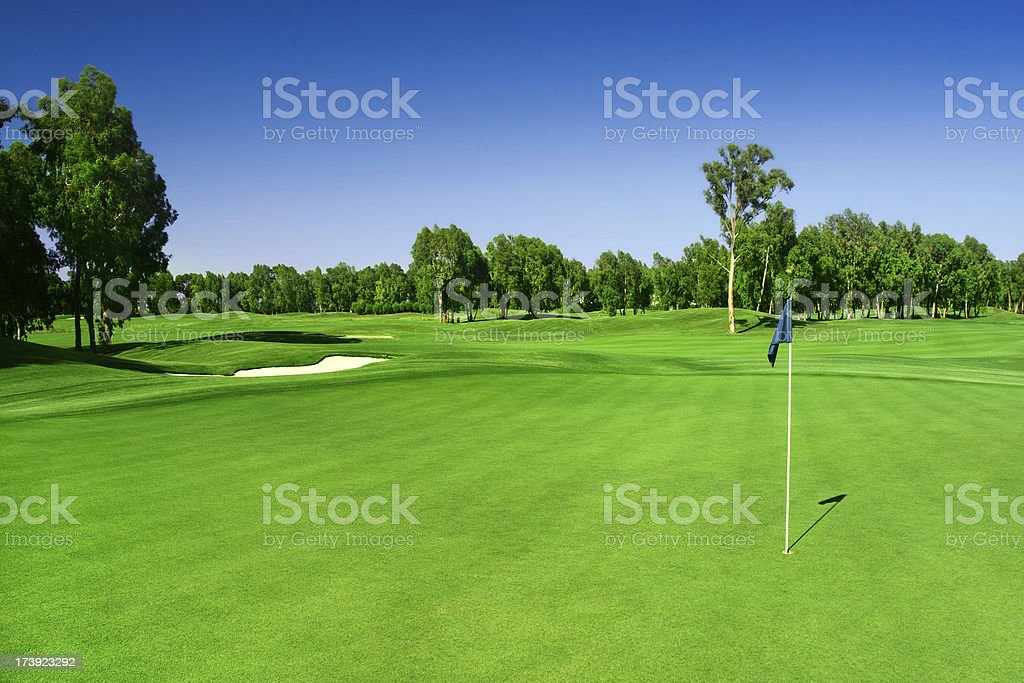 Scenic photograph of a golf course stock photo