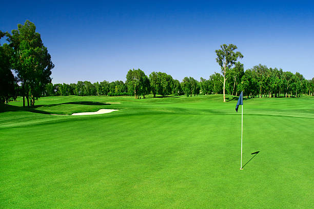 Scenic photograph of a golf course A horizontal view of one of the finest golf course in Europe. green golf course stock pictures, royalty-free photos & images