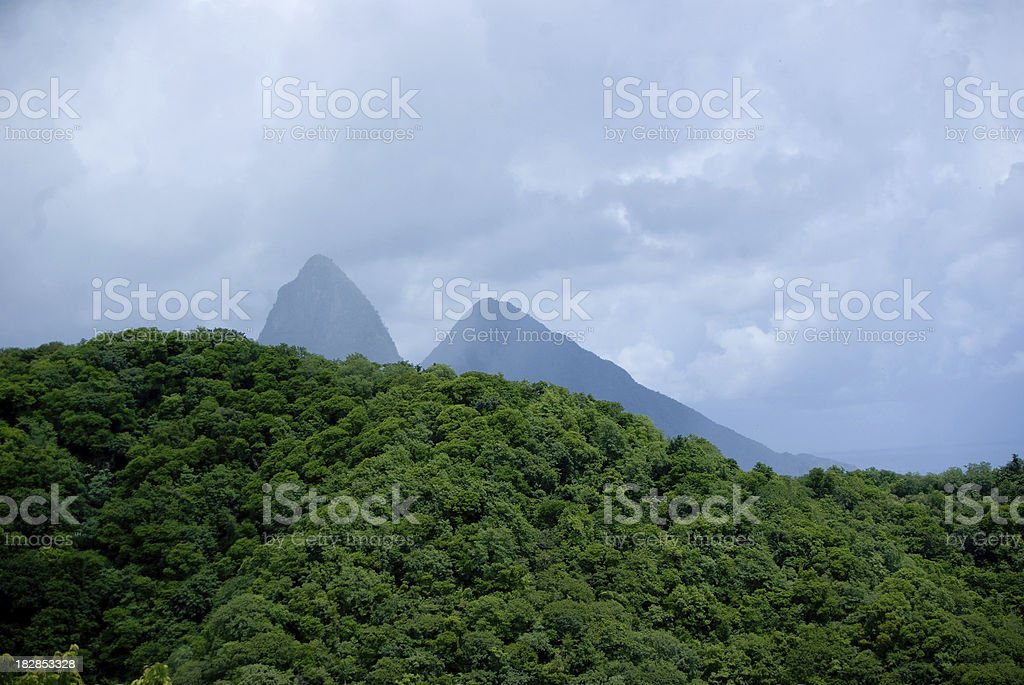 scenic Pitons Management Area as seen from Bouton St Lucia stock photo