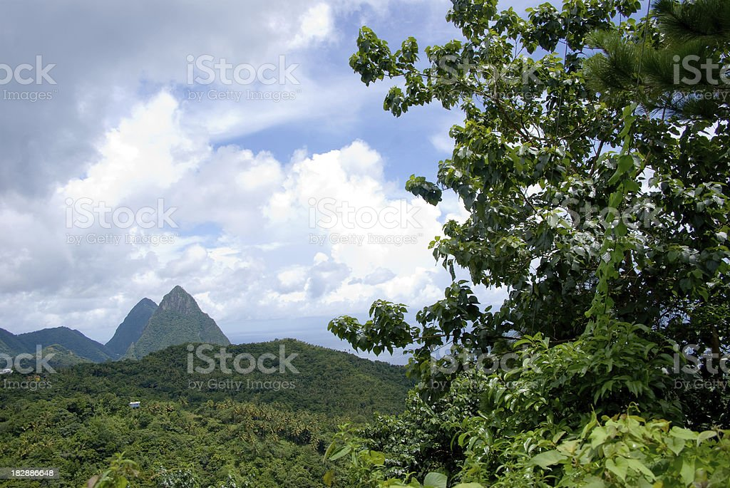 scenic pitons mountains st lucia royalty-free stock photo