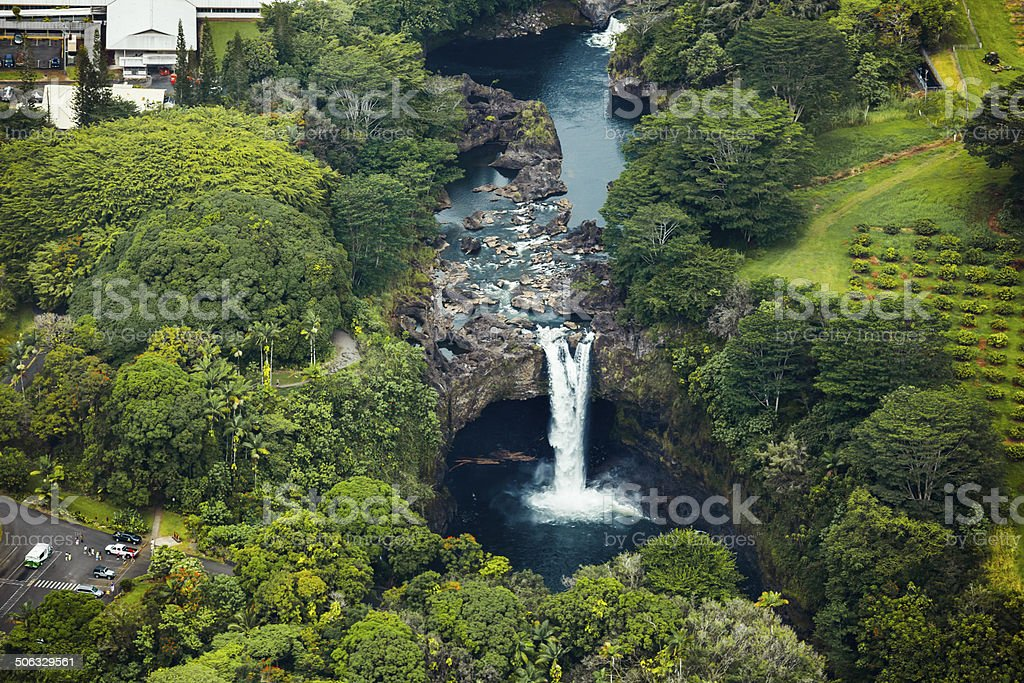 Scenic Rainbow Falls, Hawaii, Aerial View stock photo