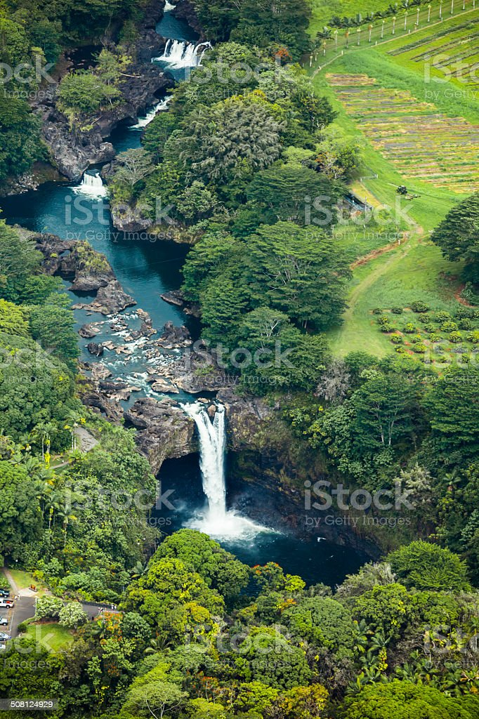 Scenic Rainbow Falls, Hilo Hawaii, Aerial View stock photo