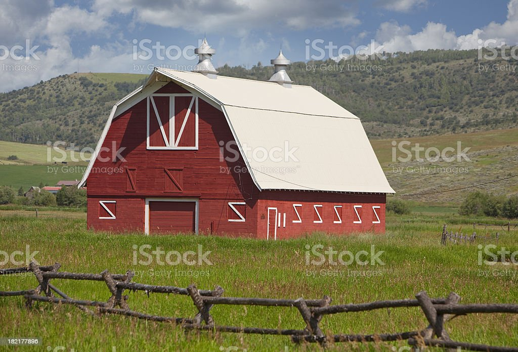 scenic red barn royalty-free stock photo