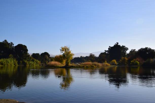 Scenic reflection at the lake during fall season. stock photo